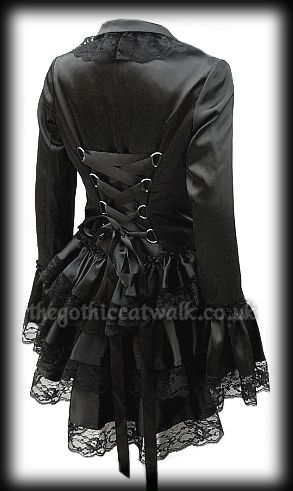Black Satin & Lace Gothic Burlesque Corset Bustle Jacket from The Gothic Catwalk