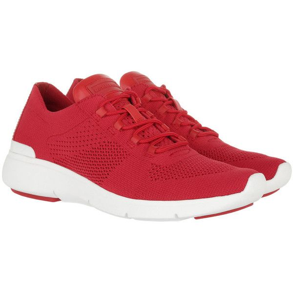 Michael Kors Sneakers - Skyler Trainer Fabric Sneaker Bright Red - in... (€170) ❤ liked on Polyvore featuring shoes, sneakers, logo shoes, flat sneakers, cap toe shoes, cap toe sneakers and white shoes
