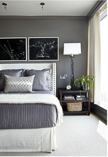 The combination of light and dark is really striking in this bedroom