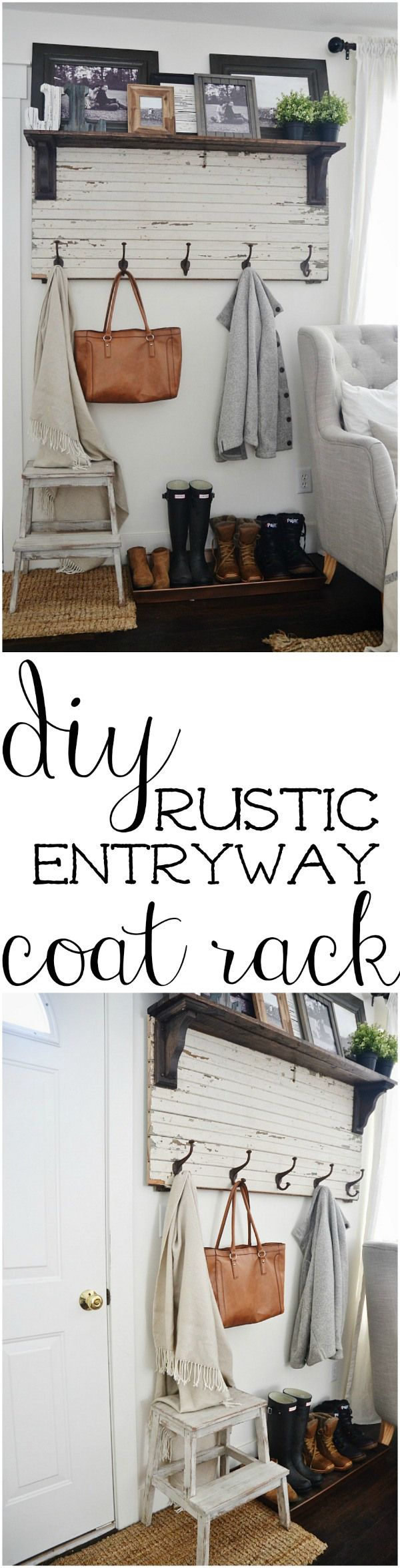 DIY rustic entryway coat rack - A super simple way to create organization in any size entryway or mud room.