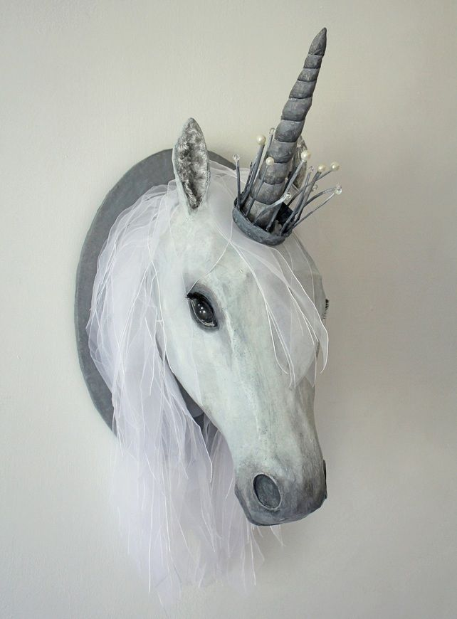 Unicorn head with jewelled crown. Mixed media wall sculpture. Made by hand. £595.00