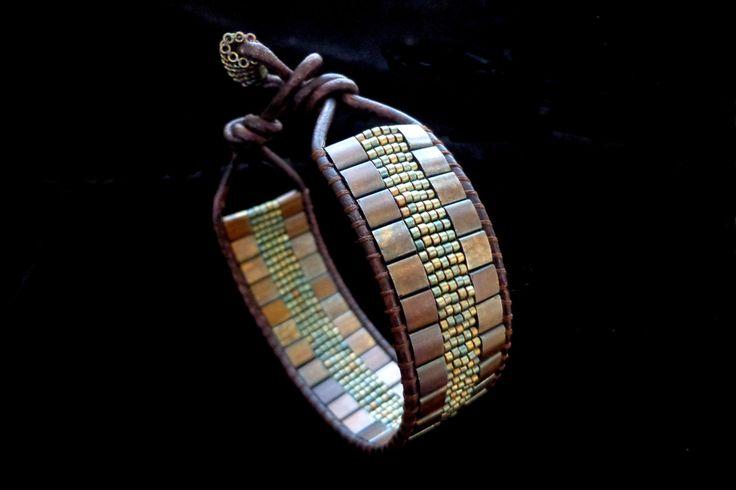 Leather Single Wrap Bracelet with Matte Metallic Dark Raspberry Tila Beads. $30.00, via Etsy.