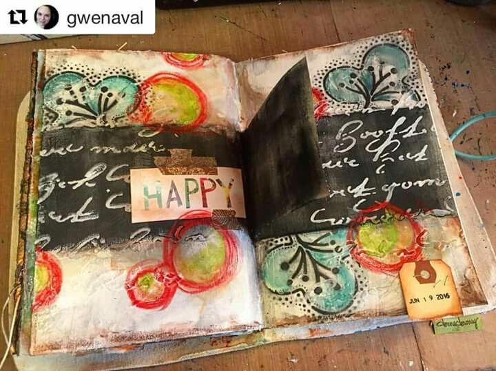 Gwen Lafleur - Gorgeous new art journal spread by Gwen Lafleur @gwenaval incorporating her StencilGirl designs! #stencilgirl