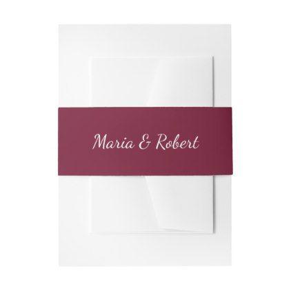 Elegant Maroon Classic Wedding Belly Bands Invitation Belly Band - elegant wedding gifts diy accessories ideas