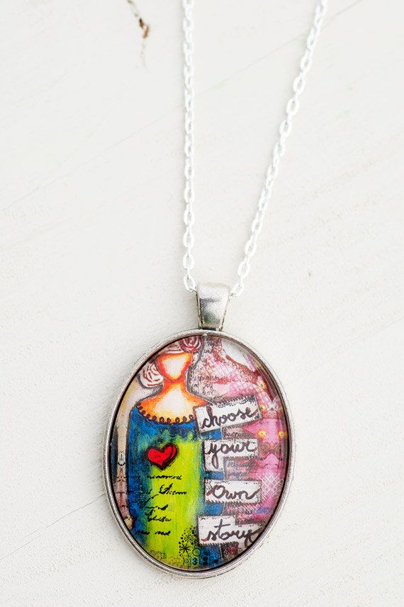 Bohemian Whimsical Art Pendant Necklace, Choose Your Own Story Oval Pendant, Girl Photo Pendant, Affirmational Motivational Quote Charm