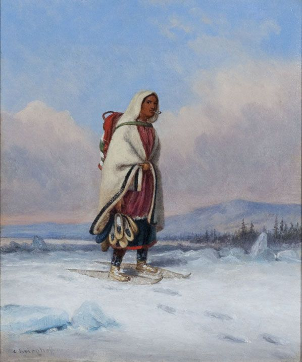 'Indian Squaw Crossing a Frozen River' by Cornelius Krieghoff circa 1860  at Mayberry Fine Art