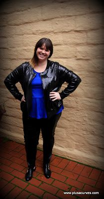 """Amara from plusacurves rocking our """"studio 54 bomber"""" + a - Plus Size Fashion and Beauty blog: Harlow Studio 54 Bomber Jacket, click here to buy www.harlowstore.com"""