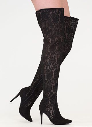 Stand Tall Lace Thigh-High Boots