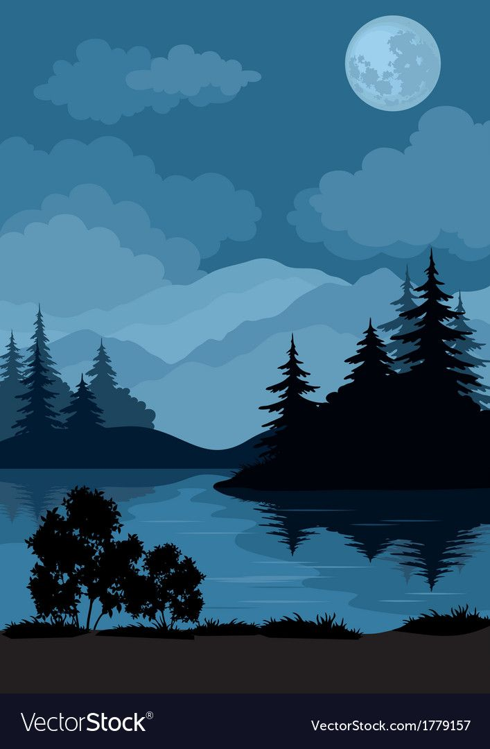 Landscape Trees Moon And Mountains Vector Image On With Images Night Landscape Mountain Illustration Landscape Illustration