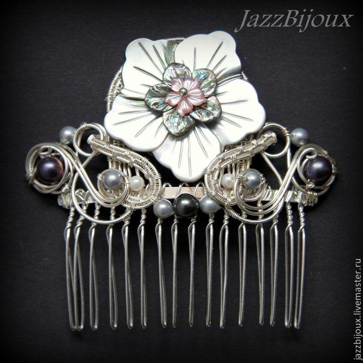 """""""Версаль"""" Гребень с перламутровым цветком - серебряный,украшение для волос"""