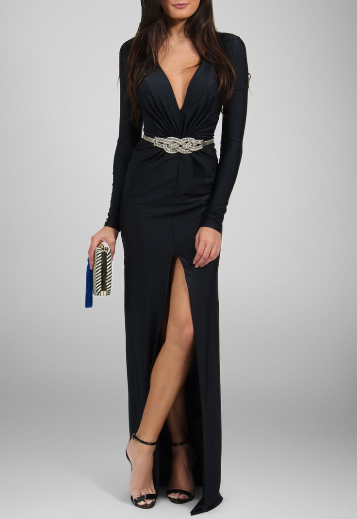 Vestido longo de manga comprida e fenda frontal preto Maddie - powerlook