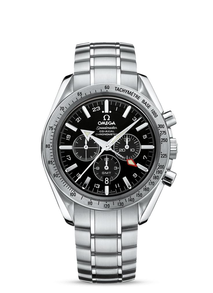 Full details and images of the Omega Speedmaster Broad Arrow Co-Axial GMT Stainless Steel / Black / Bracelet (3581.50.00)
