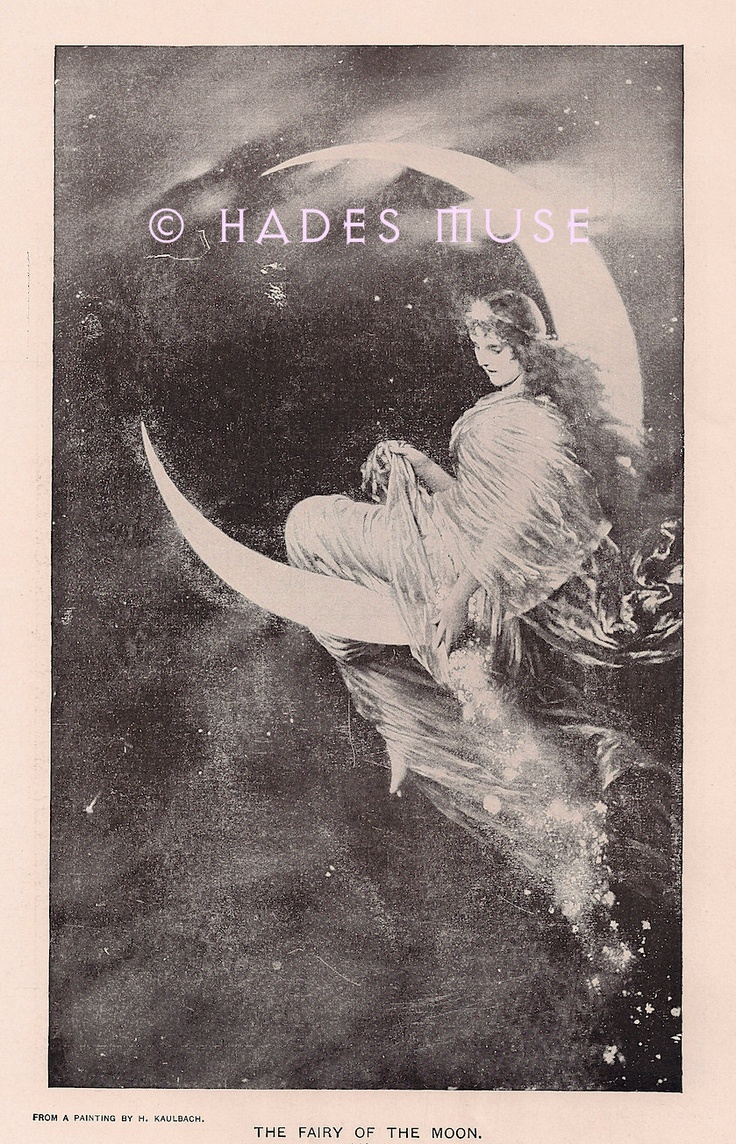 Fairy Of The Moon-1902 Antique Vintage Art Print - Beautiful Angel- Celestial Vintage Art -Fairy Dust-Gothic Victorian Picture-Magic. $35.00, via Etsy.