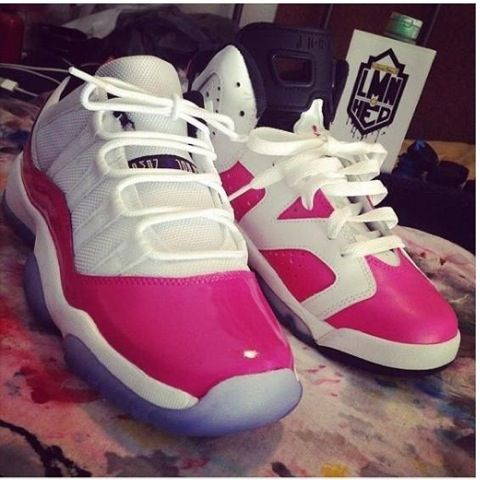 Pink And Grey Jordans With Sparkles 4