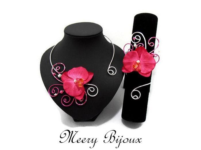 Parure mariage orchidée fuchsia Lilly : Parure par meery-bijoux
