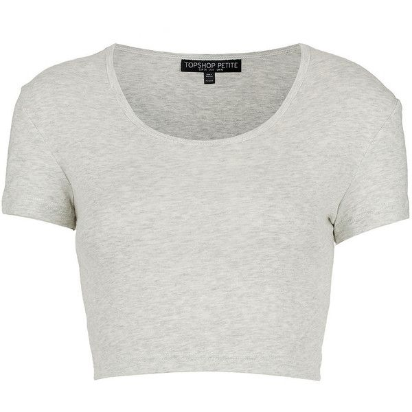 TOPSHOP Petite Crop Top ($4.24) ❤ liked on Polyvore featuring tops, t-shirts, shirts, crop tops, grey marl, petite, cotton tee, cotton t shirt, grey tee and gray t shirt