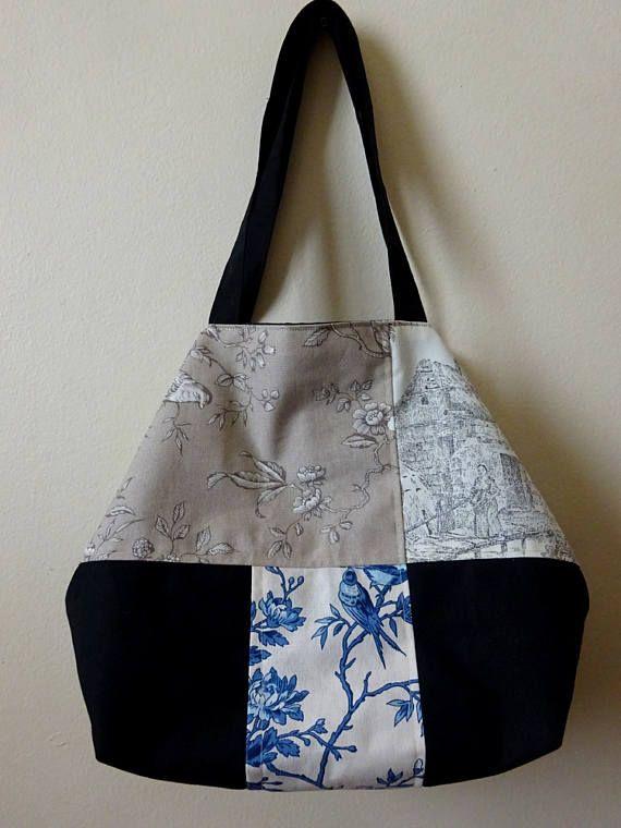 Patchwork Cabas Tote Bag / sac fourre-tout avec Toile de