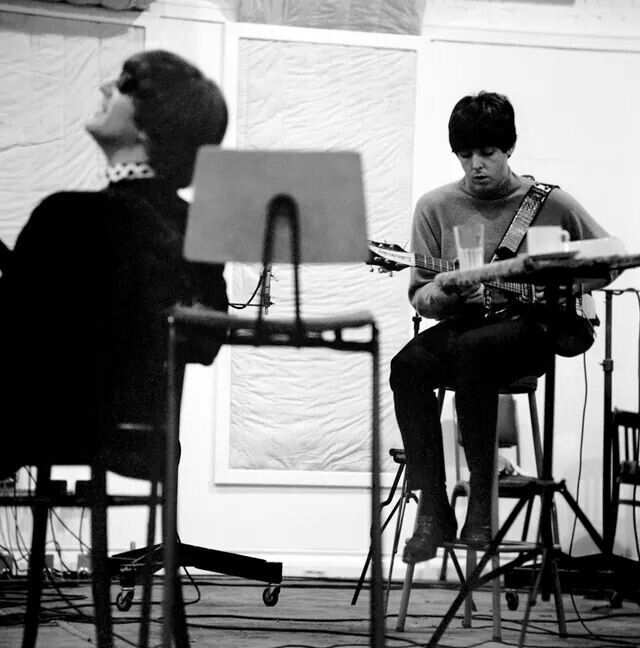 "John Lennon and Paul McCartney in Studio # 2 Sept 30 1964 during the ""Beatles For Sale"" sessions."