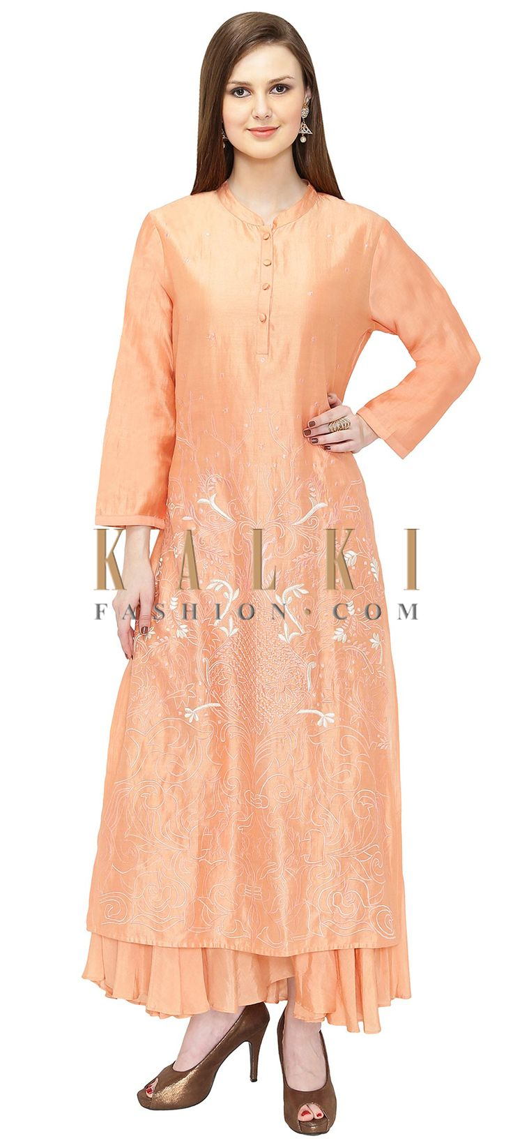 Peach Silk and Cotton Double Layered Kurta with Resham Work only on Kalki