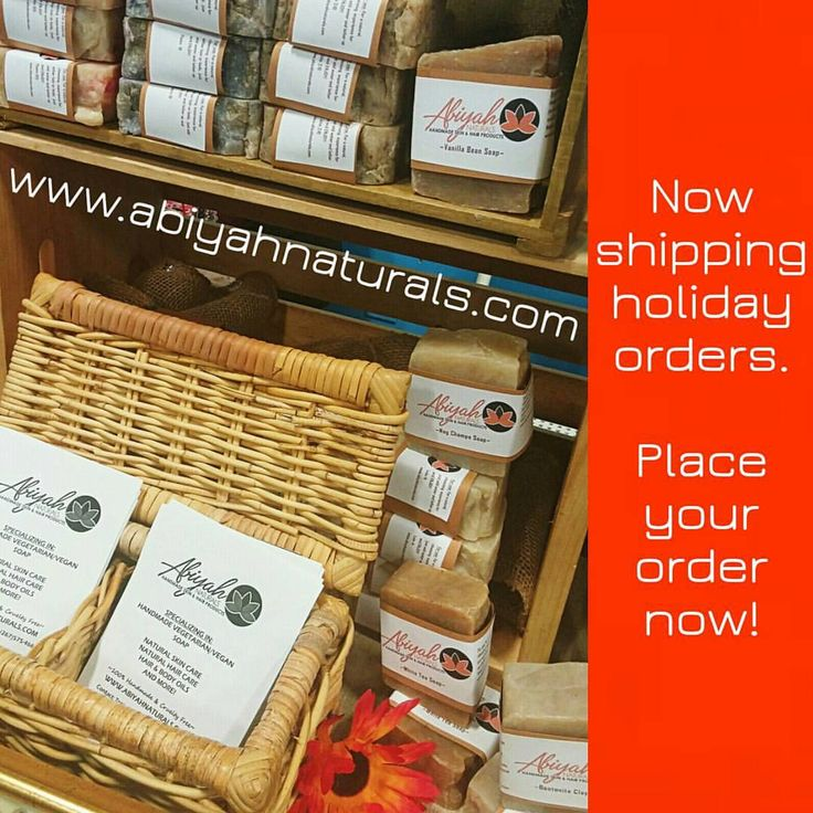 Get your handmade gift just in time for the holiday! I am now shipping holiday orders. Visit www.abiyahnaturals.com to see the products available for individual purchase or as a part of a personalized...