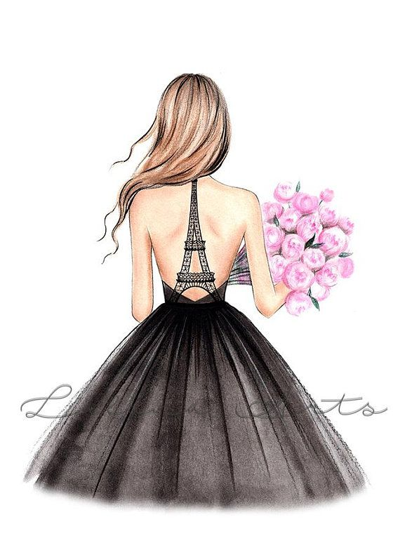 Paris digital art printable fashion girly wall art Eiffel tower poster fashion watercolor Paris fash