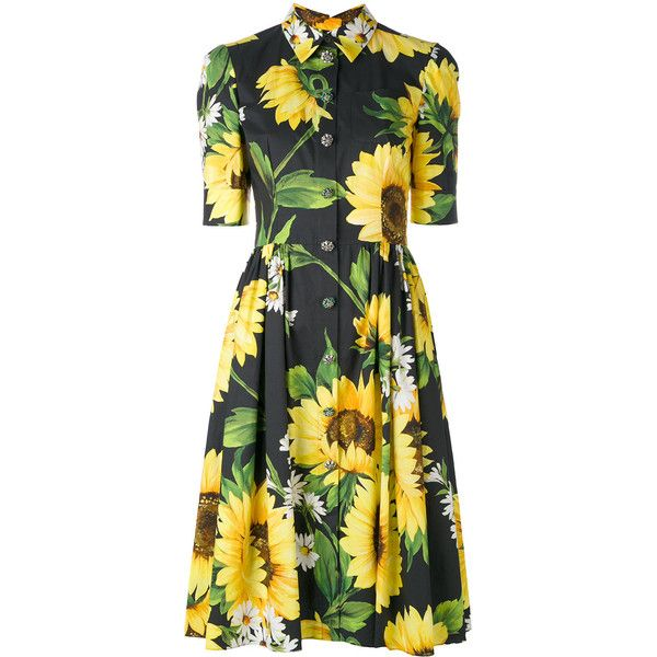 Dolce & Gabbana sunflower shirt dress ($2,995) ❤ liked on Polyvore featuring dresses, black, collared shirt dress, back zipper dress, floral collar dress, dolce gabbana dress and short-sleeve dresses