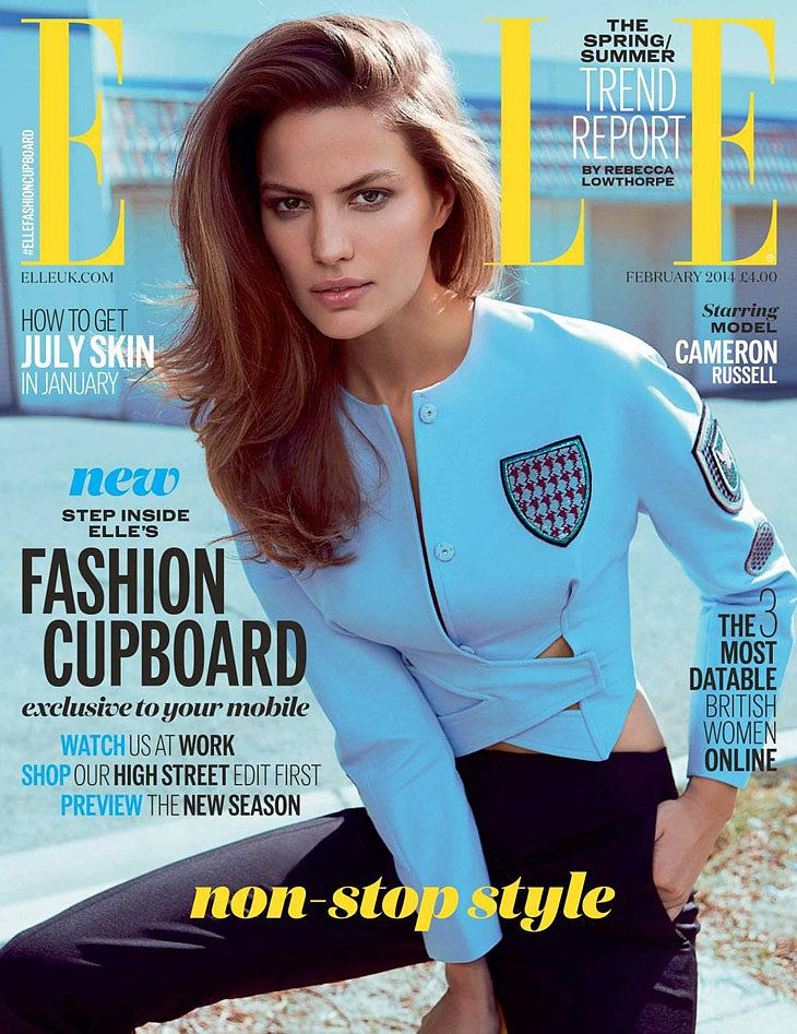 Cameron Russell in Dior on the cover of Elle UK's February 2014 issue.