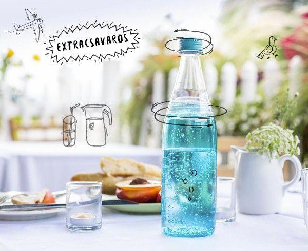 Extracsavaros vizespalack csavargásokhoz a Kitchyítől. Különféle színű kupakokkal kapható, lányosan pink, fiúsan kék és uniszex narancs színben. #glass #water #kitchydesign