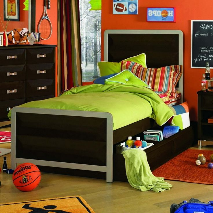 Kids Room: Cool Sports Themed Boys Bedroom Design In Brightly Orange Wall  Painting Ideas Also
