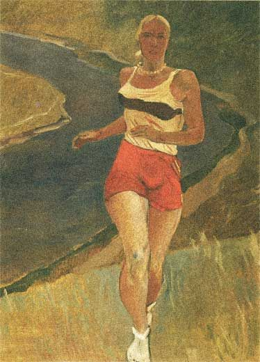 Художник Александр Дейнека. Живопись. Бегунья. 1936