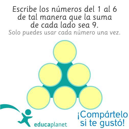 Escribe los números del 1 al 6 de tal manera que la suma de cada lados sea 9…
