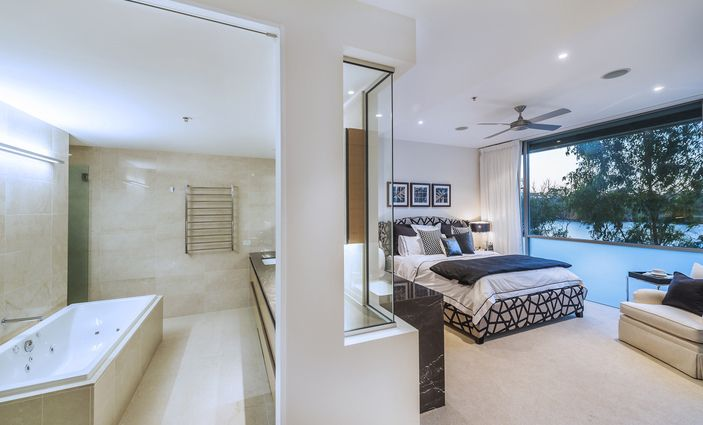 Master Bedroom Suite With River Views Walk In Robe And Luxurious 5 Point Ensuite Bedroom
