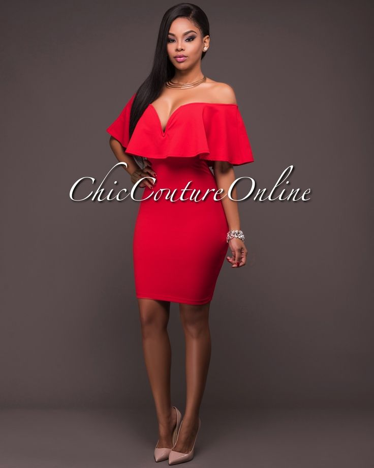 Chic Couture Online - Lexya Red Off-The-Shoulder Dress, (http://www.chiccoutureonline.com/lexya-red-off-the-shoulder-dress/)