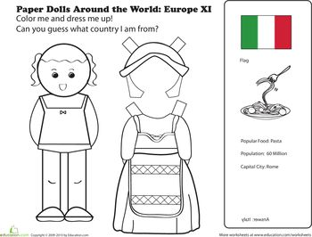 Worksheets: Paper Dolls from around the world