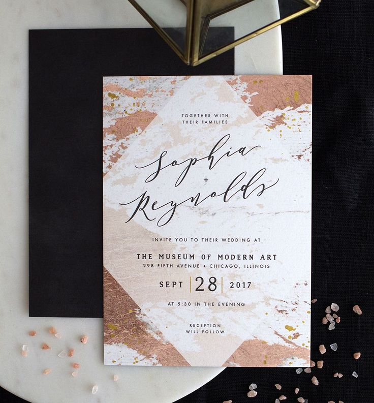 wedding invitation sample by email%0A Modern abstract wedding invitation in rose gold