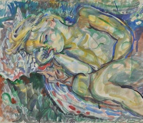 From the Art Gallery of Greater Victoria's watercolour collection: Pegi Nicol MacLeod, Jane's Asleep, watercolour on paper, 1944; Gift of Mrs. F. Maud Brown, 1955.