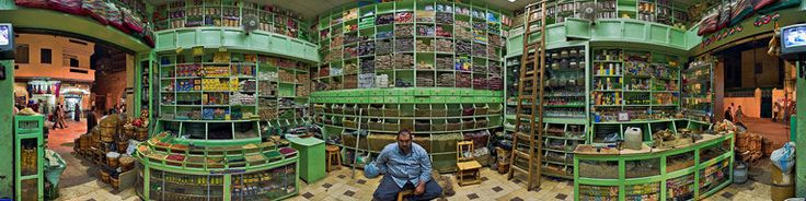 Spice shop in the Souq, Aswan, Egypt by Thomas Krueger - Click to open Panorama!