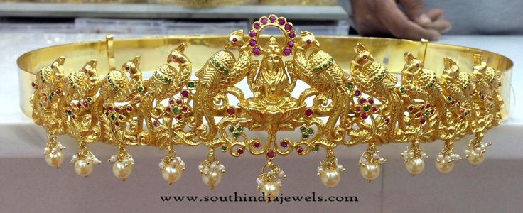 Gold Plated Lakshmi Hip Belt Designs, Gold Plated Bridal Hip Belt Models, One Gram Gold Hip Belts Models.