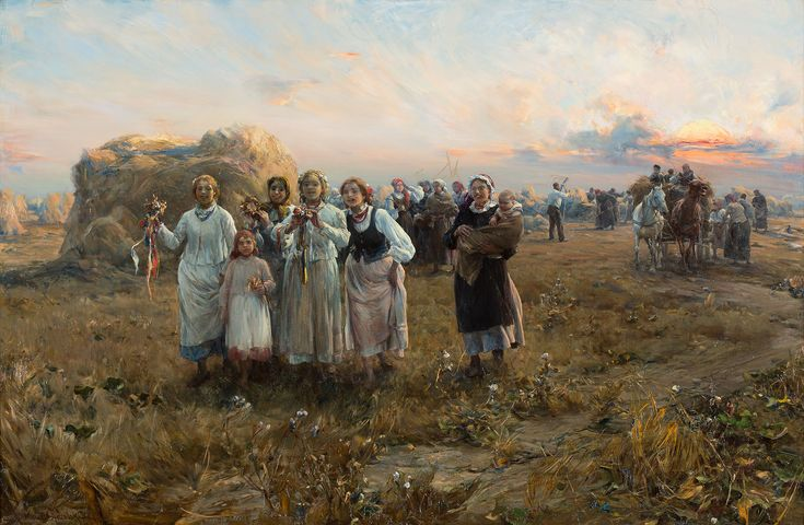 ALFRED WIERUSZ-KOWALSKI (1849 - 1915)  DOŻYNKI, OK. 1880 - 1890