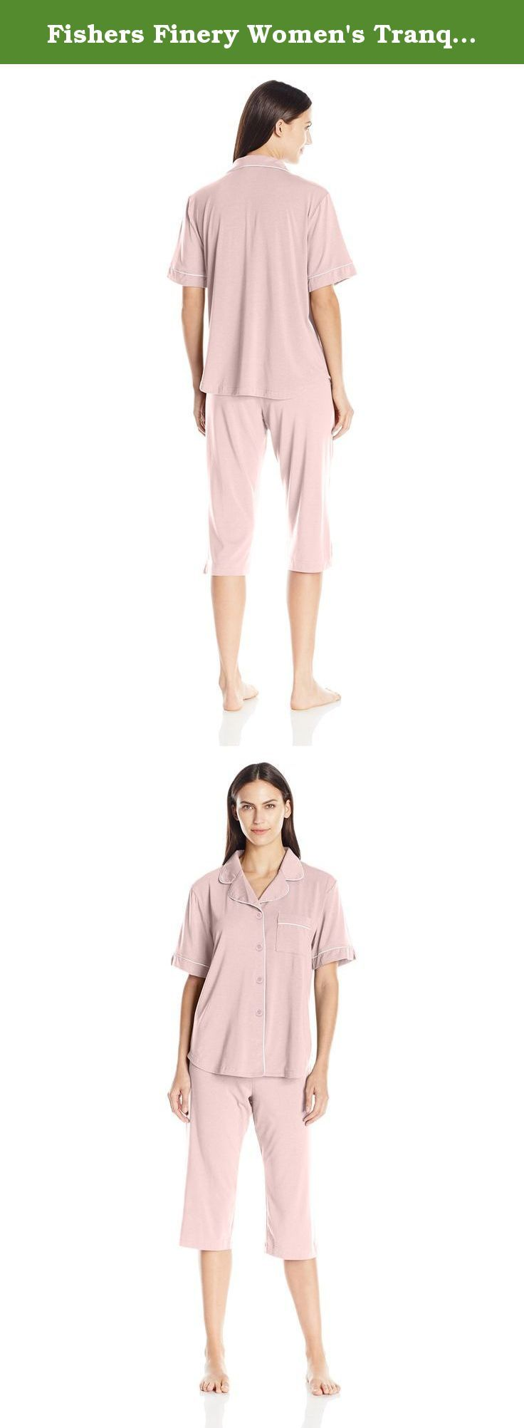 Fishers Finery Women's Tranquil Dreams Capri Pajama Set Comfort Fit, Heavenly Pink, Large. Our short pajama set is meant to be worn when a full pajama set is impractical or too warm. This set is the ticket on those nights when air conditioning is not available or practical. This pajama provides enough coverage for a nighttime walk to the bathroom or refrigerator as well as a reasonable alternative to a nightgown. The natural wicking capacity keeps the wearer cool and comfortable on the...