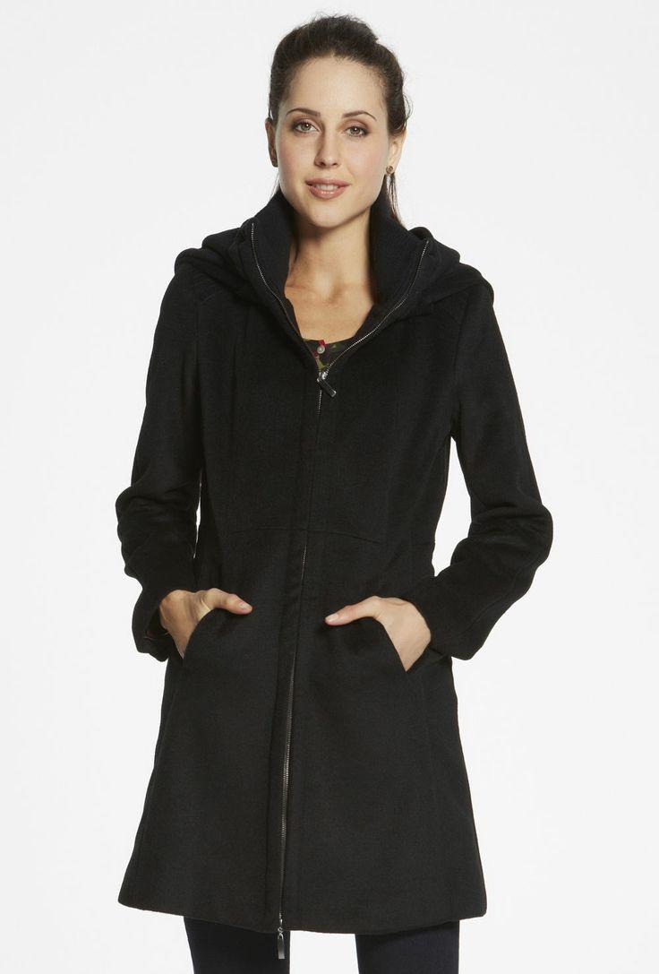 Rib Trim Hooded Coat