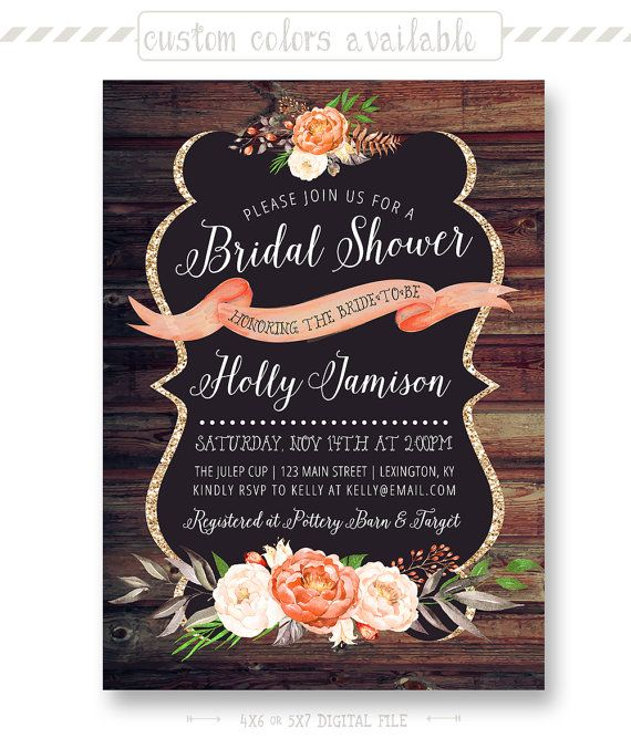 rustic bridal shower invitation barn wood style by