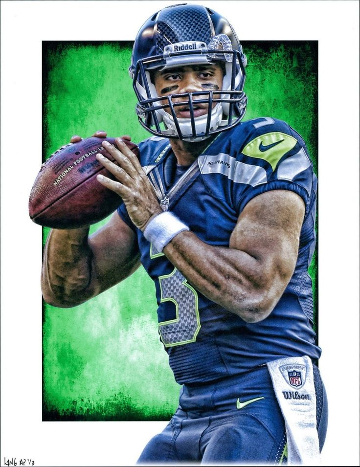 """Russell Wilson Seahawks Signed Limited Edition 11"""" x 14"""" Art Print by Jeff Lang (Artist Proof #3/3) at Pristine Auction"""