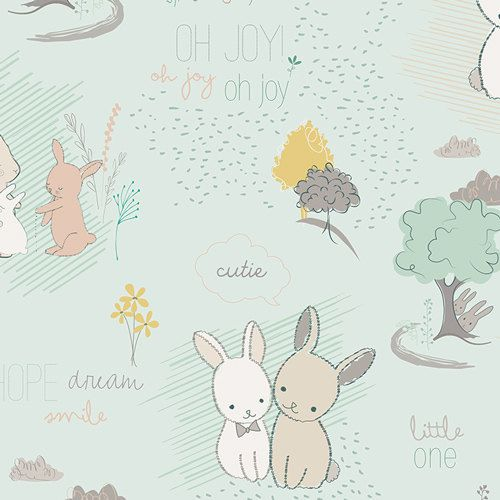 """Littlest Fabric from Art Gallery Fabrics """"Fury Tales Minty.""""  Baby Nursery Bunny. 100% premium cotton. LT-10030 by SouthernStitchFabric on Etsy https://www.etsy.com/listing/224973290/littlest-fabric-from-art-gallery-fabrics"""