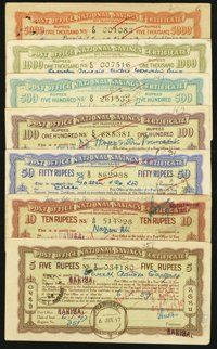 India Post Office National Savings Certificates 5; 10; 50; 100; 500; 1000; 5000 Rupees 1943-44 Schwan-Boling 1691-97...