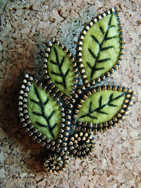 A sprig of leaves for your lapel by woolly  fabulous, via Flickr