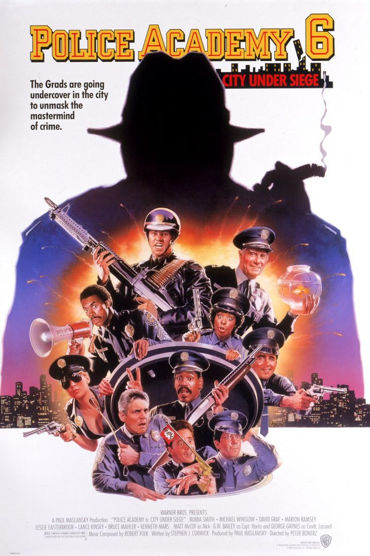 """""""Police Academy 6: City Under Seige"""" (1989). COUNTRY: United States. DIRECTOR: Peter Bonerz. CAST: Bubba Smith, David Graf, Michael Winslow, Marion Ramsey, Leslie Easterbrook, Kenneth Mars, George Gaynes, Lance Kinsey"""