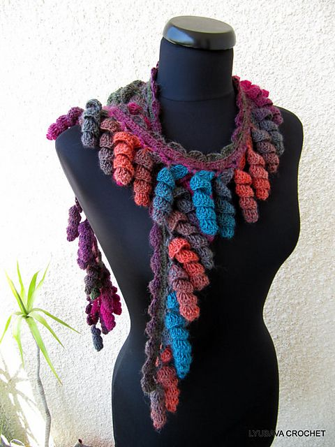 "Ravelry: Multicolour Scarf Lariat ""Curly Tassels"" Tutorial Pattern pattern by Lyubava Crochet"
