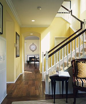 25 best ideas about yellow hallway on pinterest yellow for Foyer paint color decorating ideas
