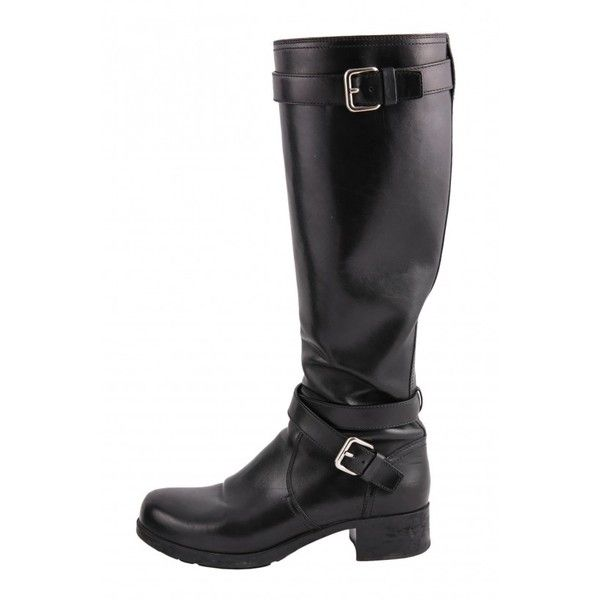 Black biker PRADA boots via Polyvore featuring shoes, boots, genuine leather boots, black leather shoes, black biker boots, leather shoes and real leather boots